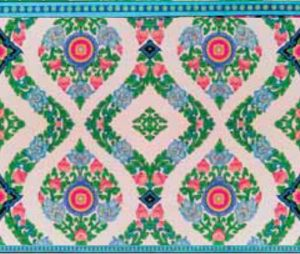 2 x lemniscaat van ornamenten groen, roze, blauw