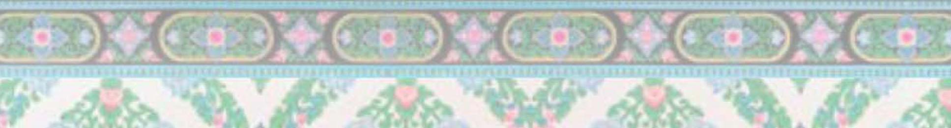 Twee balken met ornamenten in groen, roze, blauw